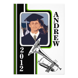 Varsity Band Trumpet Photo Graduation Green Stripe Custom Invitations