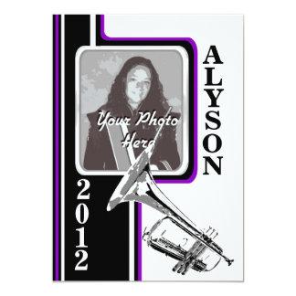 Varsity Band Trumpet Photo Graduation Purpl Stripe 13 Cm X 18 Cm Invitation Card