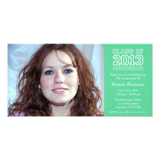 Varsity Class Of 2013 Graduation (Mint Green) Personalized Photo Card