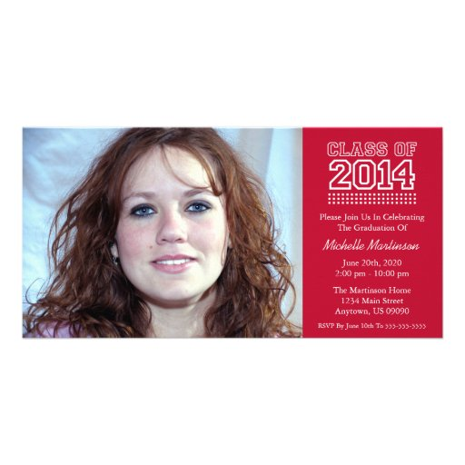 Varsity Class Of 2014 Graduation (Burgandy Red) Photo Card Template