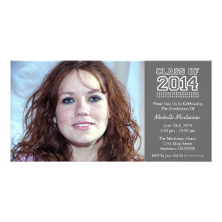 Varsity Class Of 2014 Graduation (Dark Gray) Custom Photo Card