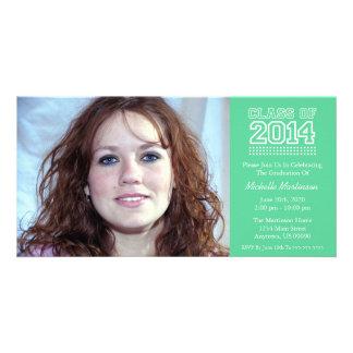 Varsity Class Of 2014 Graduation (Mint Green) Custom Photo Card