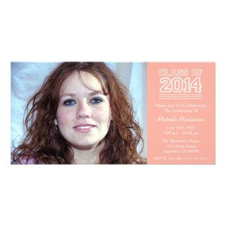 Varsity Class Of 2014 Graduation (Peach) Photo Greeting Card