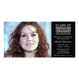 Varsity Class Of 2015 Graduation (Black) Personalized Photo Card