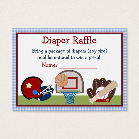 Varsity Sports Baby Shower Diaper Raffle Tickets
