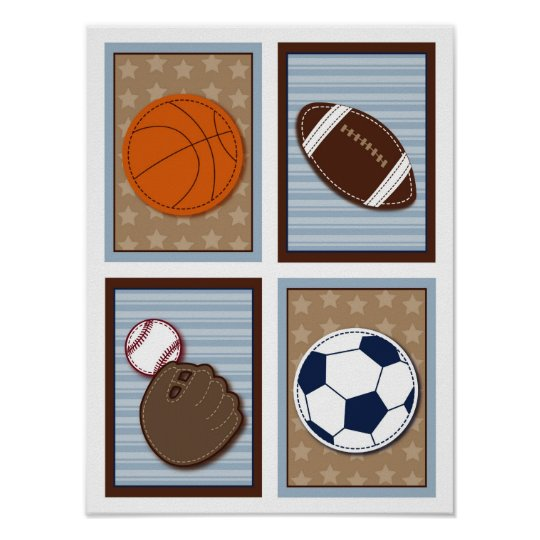 Varsity Sports Balls Boys Nursery Wall Art Prints