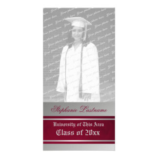 Varsity Stripe Graduation Red and Silver Custom Photo Card