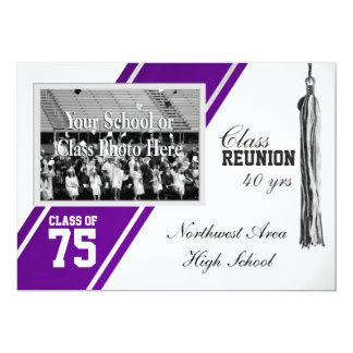 Varsity Stripe with Photo Class Reunion 13 Cm X 18 Cm Invitation Card