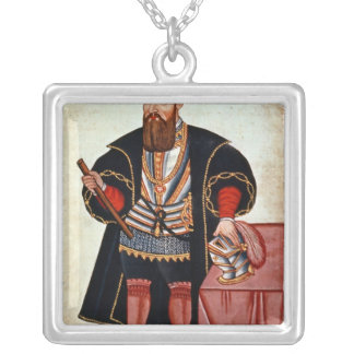 Vasco da Gama , illustration Silver Plated Necklace