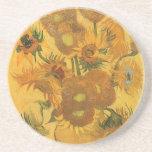 Vase 15 Sunflowers, van Gogh Vintage Impressionism Beverage Coasters
