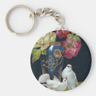 Vase and Doves Key Ring