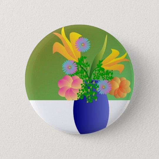 Vase Bouquet Round Button
