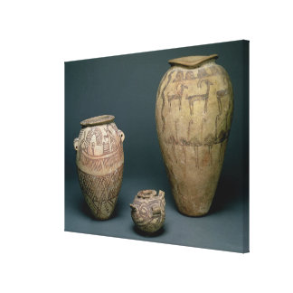 Vase decorated with various friezes of animals and canvas prints
