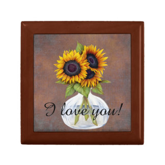 Vase of Beautiful Sunflowers on Rustic Brown Gift Box