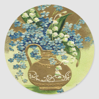 Vase of Blue and White Flowers Stickers