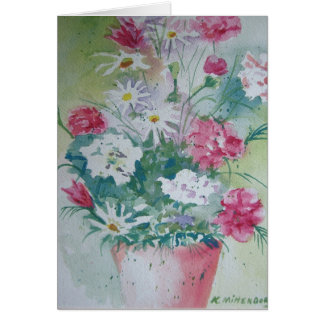 Vase of Carnations Greeting Card