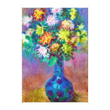 Vase of Chrysanthemum Flowers, Claude Monet Art Gallery Wrapped Canvas