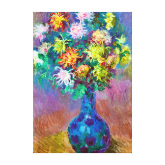 Vase of Chrysanthemum Flowers, Claude Monet Art Gallery Wrapped Canvas