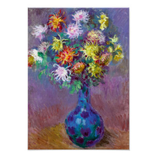 Vase of Chrysanthemum Flowers, Claude Monet Art Poster