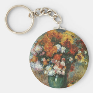 Vase of Chrysanthemums by Pierre Renoir Basic Round Button Key Ring