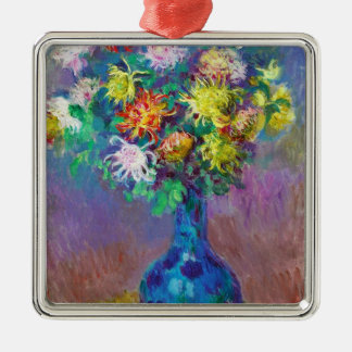 Vase of Chrysanthemums Claude Monet painting Silver-Colored Square Decoration