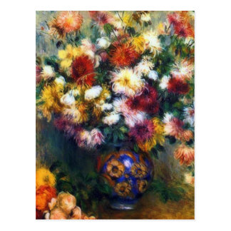 Vase of Chrysanthemums Fine Art by Renoir Postcard