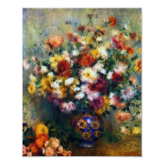 Vase of Chrysanthemums Fine Art by Renoir Poster
