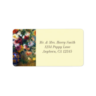 Vase of Chrysanthemums Renoir Fine Art Label
