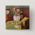 Vase of Flowers, Anemones in a White Glass 15 Cm Square Badge