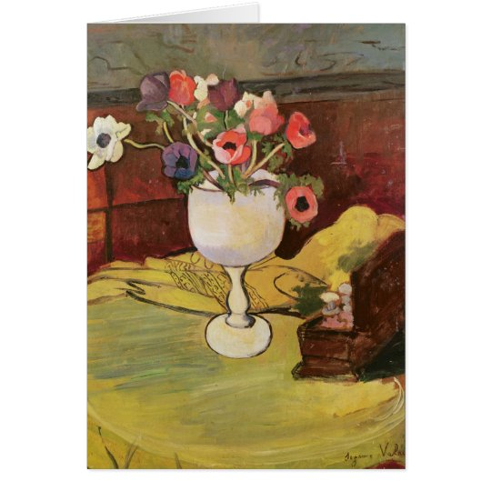 Vase of Flowers, Anemones in a White Glass Card