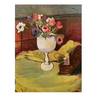 Vase of Flowers, Anemones in a White Glass Postcard