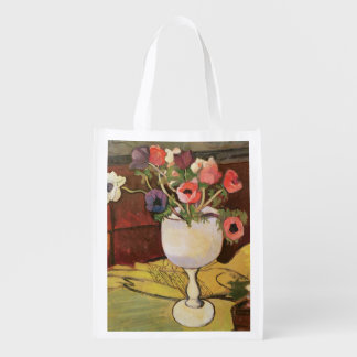 Vase of Flowers, Anemones in a White Glass Market Tote