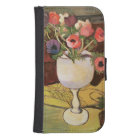 Vase of Flowers, Anemones in a White Glass Samsung S4 Wallet Case