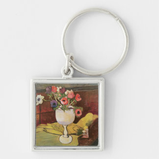 Vase of Flowers, Anemones in a White Glass Silver-Colored Square Key Ring
