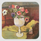 Vase of Flowers, Anemones in a White Glass Square Sticker