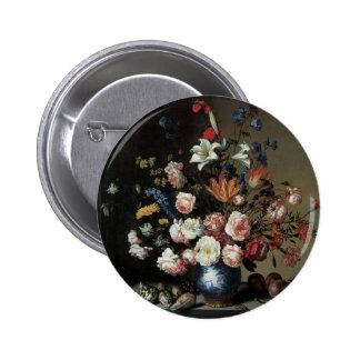 Vase of Flowers by a Window, Balthasar van der Ast 6 Cm Round Badge