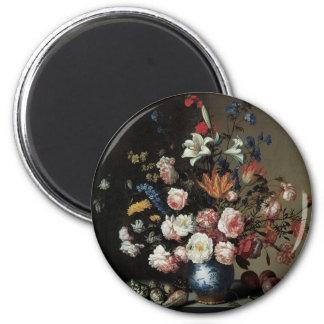 Vase of Flowers by a Window, Balthasar van der Ast 6 Cm Round Magnet