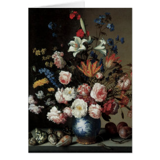 Vase of Flowers by a Window, Balthasar van der Ast Greeting Card