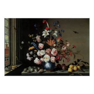 Vase of Flowers by a Window, Balthasar van der Ast Poster