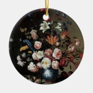Vase of Flowers by a Window, Balthasar van der Ast Round Ceramic Decoration