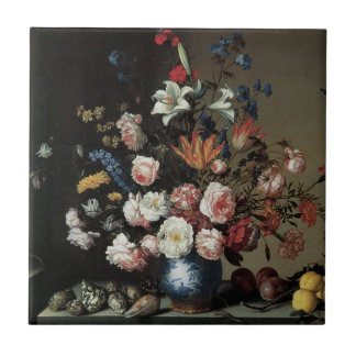 Vase of Flowers by a Window, Balthasar van der Ast Small Square Tile