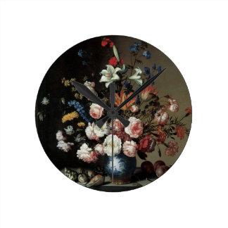Vase of Flowers by a Window, Balthasar van der Ast Wall Clock