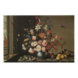 Vase of Flowers by a Window, Balthasar van der Ast Wood Canvases