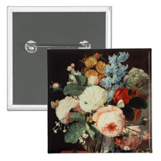 Vase of Flowers on a marble ledge 15 Cm Square Badge