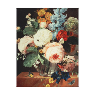 Vase of Flowers on a marble ledge Canvas Print