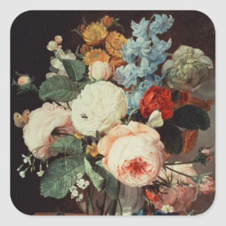 Vase of Flowers on a marble ledge Square Sticker
