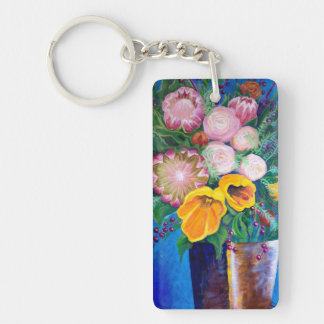 Vase of Flowers -- Proteas, Tulips and Roses Key Ring