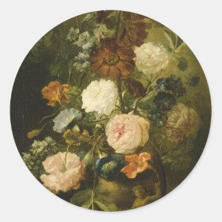 Vase of Flowers Round Stickers