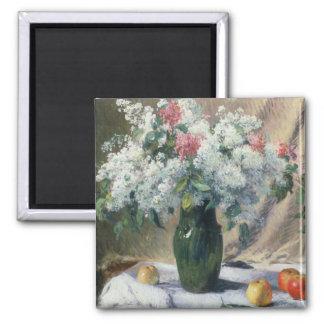 Vase of flowers square magnet