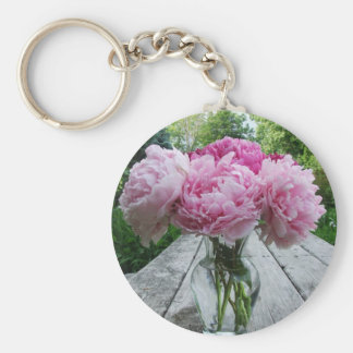 Vase of Pink Peonies Keychain